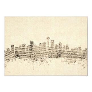 Seattle Washington Skyline Sheet Music Cityscape Card
