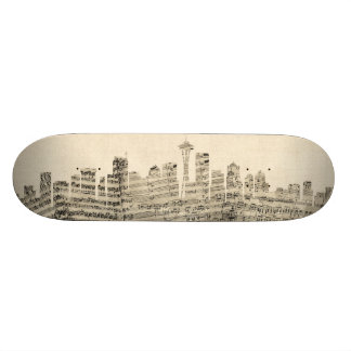 Seattle Washington Skyline Sheet Music Cityscape Skateboard Deck