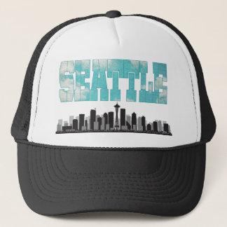 Seattle Washington Skyline Trucker Hat