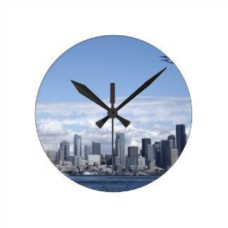 Seattle Washington Skyscrapers Round Clock