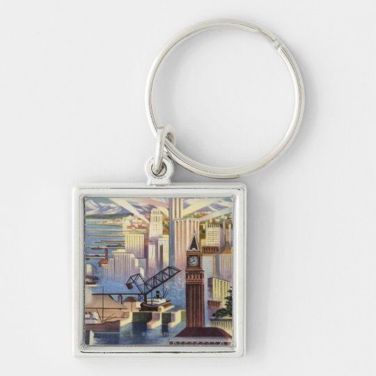 Seattle, Washington - View of Downtown Keychain