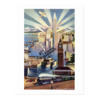 Seattle, Washington - View of Downtown Postcard