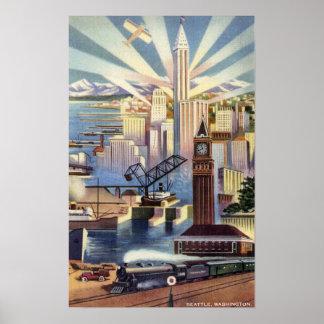Seattle Washington - View of Downtown Print
