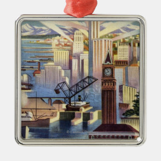 Seattle, Washington - View of Downtown Square Metal Christmas Ornament