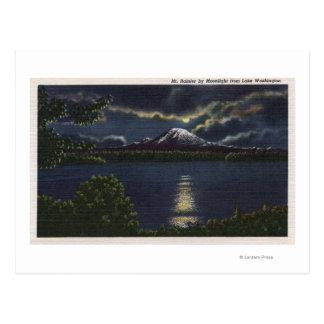 Seattle Washington - vista iluminada por la luna Postal