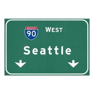 Seattle Washington wa Interstate Highway Freeway : Photo Print