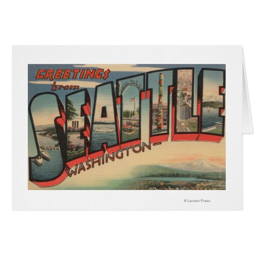 Seattle, WashingtonLarge Letter Scenes 2 Greeting Card