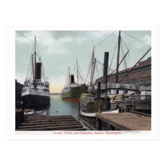 Seattle, WashingtonView del muelle y de las naves Tarjeta Postal