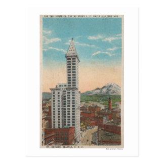Seattle, WASmith Tower View & Mt. Rainier Postcard