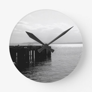 Seattle Waterfront in Black and White Round Clock