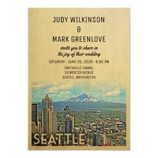 Seattle Wedding Invitation Vintage Mount Rainier