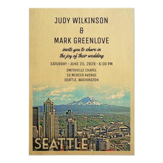 Seattle Wedding Invitation Vintage Mount Rainier Zazzle Com