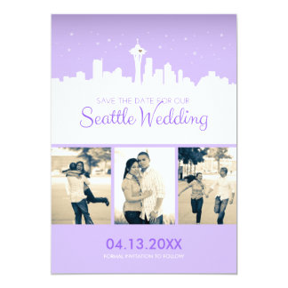 "Seattle Wedding Save-the-date 5"" X 7"" Invitation Card"