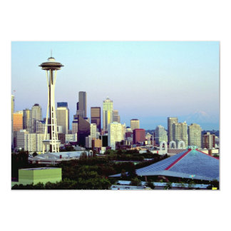 Seattle with Mount Rainier, Washington State, U.S. Card