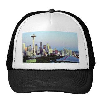 Seattle with Mount Rainier, Washington State, U.S. Mesh Hat