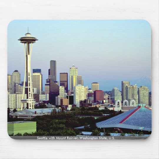 Seattle with Mount Rainier, Washington State, U.S. Mouse Pad
