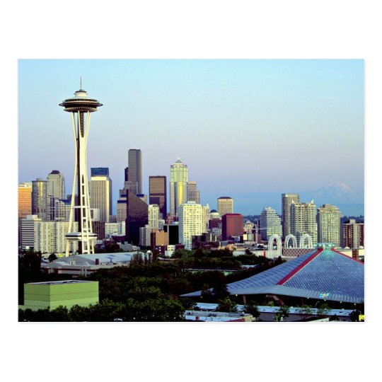 Seattle with Mount Rainier, Washington State, U.S. Postcard