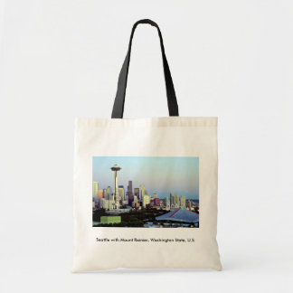 Seattle with Mount Rainier, Washington State, U.S. Tote Bag