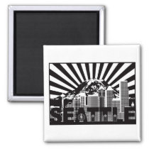 Seattle with Mt Rainier on sunrays background Magnet