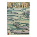 SeattleFish en el hielo en el mercado de lugar de Cuadros De Madera