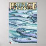 SeattleFish en el hielo en el mercado de lugar de  Póster
