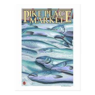 SeattleFish en el hielo en el mercado de lugar de Tarjeta Postal