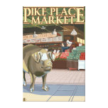 SeattleFish Toss and Bronze Pig at Pike Place Gallery Wrap Canvas