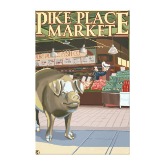 SeattleFish Toss and Bronze Pig at Pike Place Canvas Print
