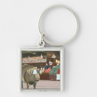 SeattleFish Toss and Bronze Pig at Pike Place Keychain