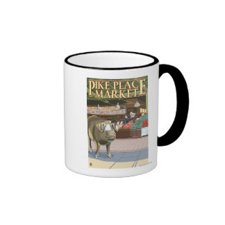 SeattleFish Toss and Bronze Pig at Pike Place Ringer Coffee Mug
