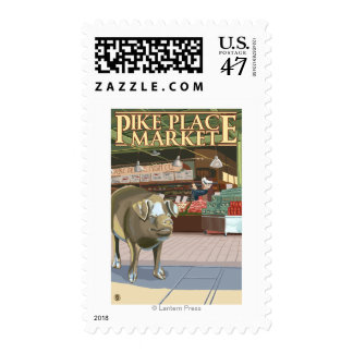 SeattleFish Toss and Bronze Pig at Pike Place Postage Stamp