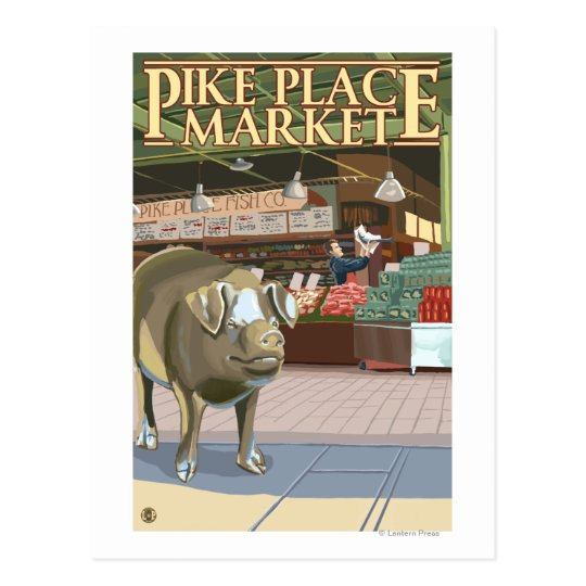 SeattleFish Toss and Bronze Pig at Pike Place Postcard