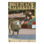 SeattleFish Toss and Bronze Pig at Pike Place Poster
