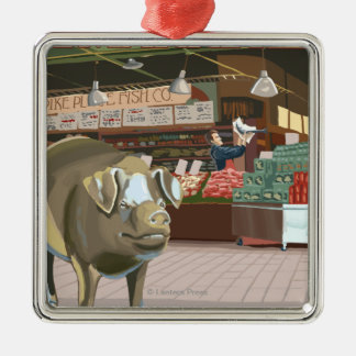 SeattleFish Toss and Bronze Pig at Pike Place Square Metal Christmas Ornament
