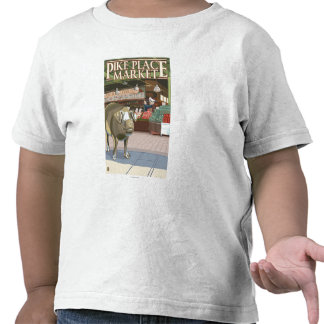 SeattleFish Toss and Bronze Pig at Pike Place Tee Shirts