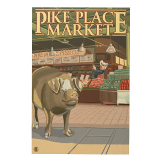 SeattleFish Toss and Bronze Pig at Pike Place Wood Wall Art