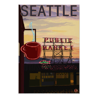 SeattlePike Place Market Sign and Water View