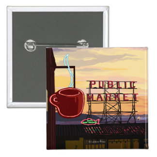 SeattlePike Place Market Sign and Water View 2 Inch Square Button