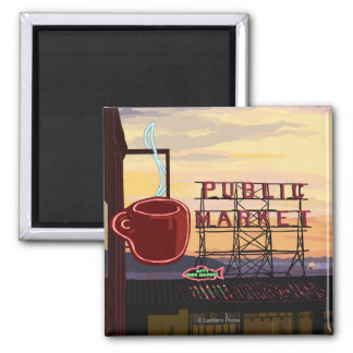 SeattlePike Place Market Sign and Water View 2 Inch Square Magnet