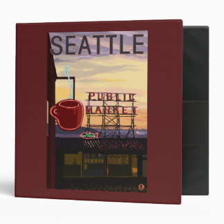 SeattlePike Place Market Sign and Water View Binder