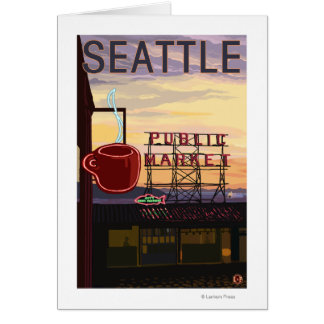 SeattlePike Place Market Sign and Water View Greeting Card