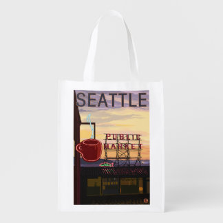 SeattlePike Place Market Sign and Water View Grocery Bag
