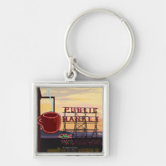 SeattlePike Place Market Sign and Water View Silver-Colored Square Keychain