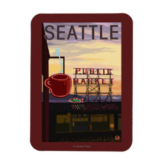 SeattlePike Place Market Sign and Water View Magnet