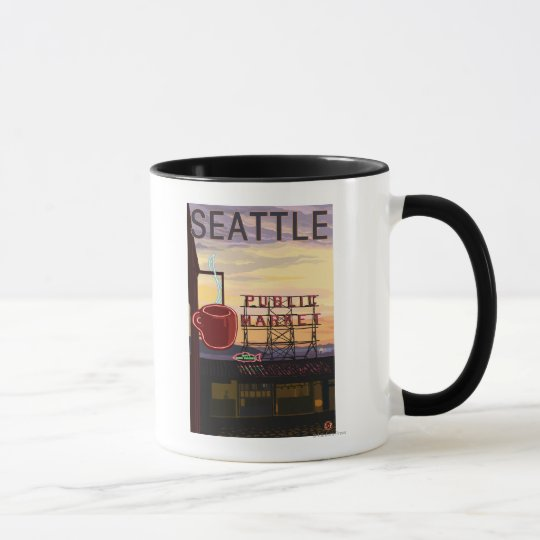 SeattlePike Place Market Sign and Water View Mug