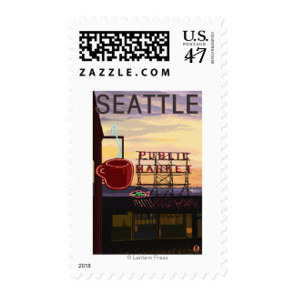 SeattlePike Place Market Sign and Water View Postage Stamp
