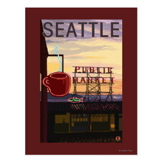 SeattlePike Place Market Sign and Water View Postcard