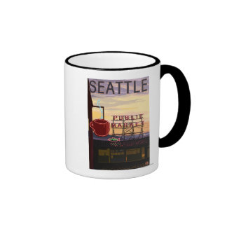 SeattlePike Place Market Sign and Water View Ringer Coffee Mug