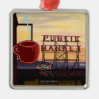 SeattlePike Place Market Sign and Water View Square Metal Christmas Ornament