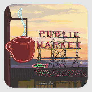 SeattlePike Place Market Sign and Water View Square Sticker